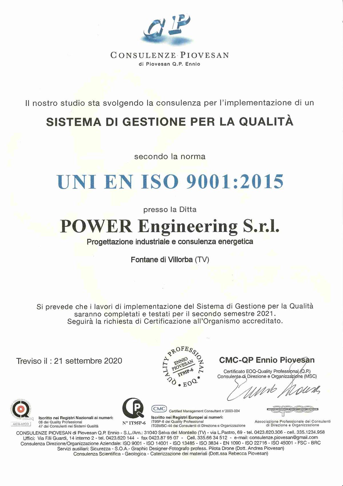 Attestato Poweren implementazione Qualità UNI 9001:2015